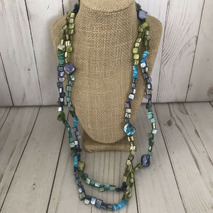 """Jewelry - Purple, Blue and Green Shell Bead Necklace 32"""""""